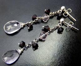 Amethyst Drop Earrings, Long Pale Pink Posts, Garnet Swarovski, February Birthst - $30.00