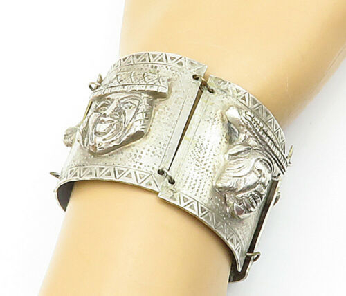 Primary image for INDUSTRIA PERUANA 925 Silver - Vintage Heavy Storyteller Chain Bracelet - B6843
