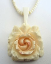 Vintage 1970's Carved Bovine Bone Flower Pendant and Necklace 16 Inches ... - $19.99