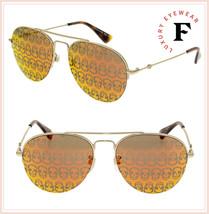 4a62ae570e3 GUCCI URBAN GG0107S Gold Orange Skull Mirrored Aviator Unisex Sunglasses  0107 - €248