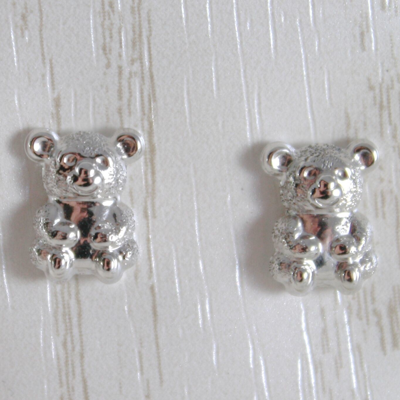WHITE GOLD EARRINGS 750 18K FOR GIRL, BEARS SATIN, LENGTH 1.0 CM