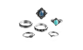 New Stylish Blue Stone Carved Antique Bohemian Knuckle Finger Ring - $14.39