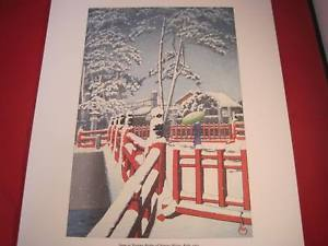 Hasui Japanese Woodblock reprint Snow Yagumo Bridge Nagata Shrine Kobe