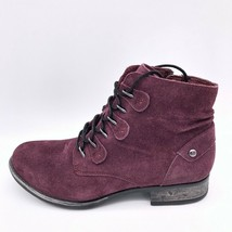 Earth Womens Boone Ankle Boots Booties Purple Leather Zip Casual Footwear 6 New - $50.46