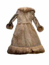 Vintage Women Long Suede Leather Fur Trim Coat Full Length Brown 70s Trench Belt image 5