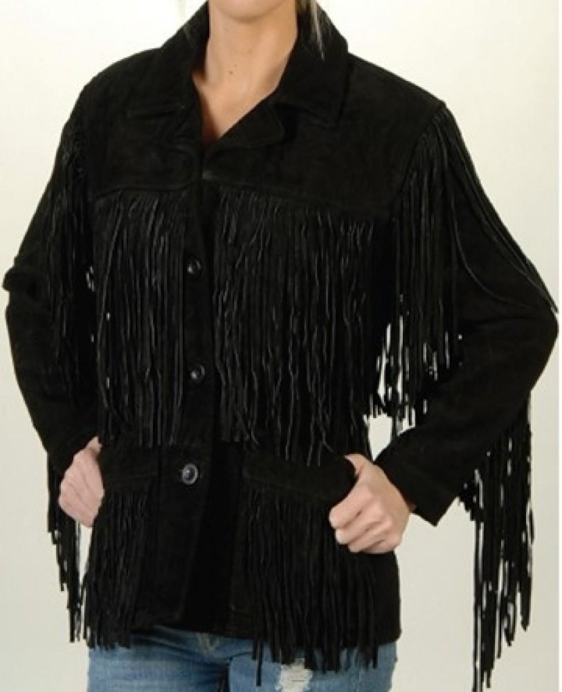 Ladies HIPPIE Biker Chick SOFT Brown PREMIUM Suede Leather WESTERN FRINGE Jacket