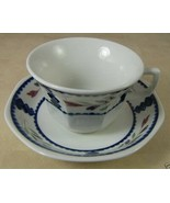 Lancaster Adams China Cup & Saucer Set England Discontinued White Blue Red - $5.94