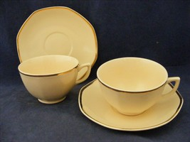 2 Homer Laughlin Yellow Stone Gold Trim Cups & Saucers Mid-Century - $9.95