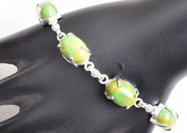 925 Sterling Silver Handmade Charm Bracelet Copper Turquoise BGS-1337 Wo... - $18.42