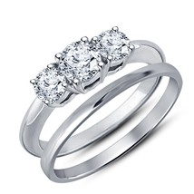 Round-Cut Sim Diamond Three Stone Prong Set Bridal Ring Set W/ White Gol... - $63.99