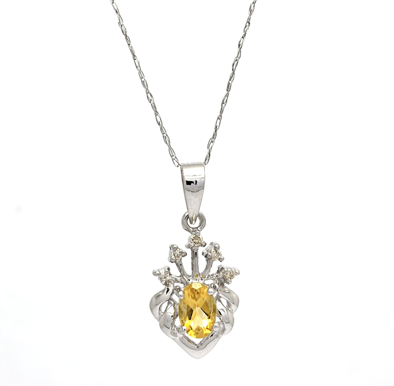 14K White Gold Genuine Yellow Citrine Heart Tiara Pendant with 10 K Cable Chain