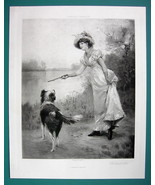 LOVELY MAIDEN Playing with Collie Dog Fetch It - 115+ Years Old Antique ... - $14.85