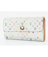 Auth LOUIS VUITTON Sarah White Multicolor Long Wallet Zippered Coin Purs... - $165.00