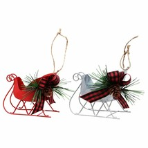 """Sleigh Christmas Ornament with Pine Cones Red Silver 3""""X4.25"""" w - $5.99"""