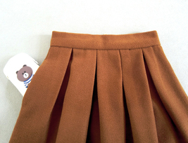 Winter Wool-Blend Skirt Brown Midi Party Skirt Outfit Plus Size image 3