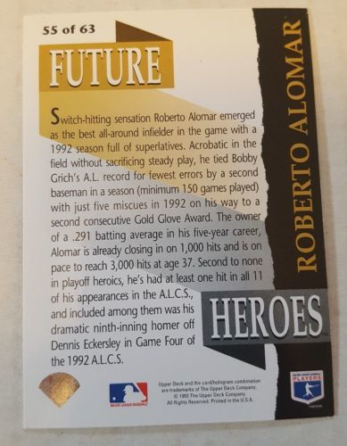 1993 Upper Deck Future Heroes Roberto Alomar Blue Jays #55