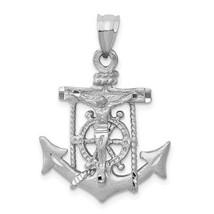 14k White Gold Mariners Anchor Crucifix Cross Charm Pendant   1.22 Inch - $303.60