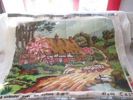 """Vintage made in France D.M.C. needlepoint canvas, Ma Chaumiere, 20"""" by 16"""" - $50.00"""