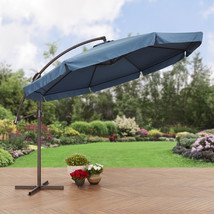 Outdoor Offset Patio Umbrella W/ Detachable Net Polyester Good Quality 1... - $251.66 CAD