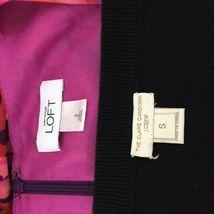 SET Ann Taylor LOFT Dress J.Crew Clare Cardigan Sweater Pink Purple Black 2 S LN image 7