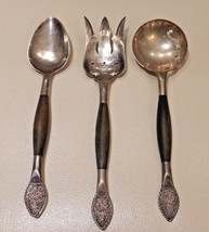 SUPERB VINTAGE SILVER SERVING AND FORK WITH WOOD HANDLE AND ENGRAVED FIL... - $129.00