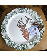 CERAMICHE FABBRO ITALY Round Deer Buck SERVING PLATTER Ski House World T... - $74.25