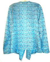 Size XL - Jones NY Blue Striped Lightweight Long Sleeve Open Jacket Sweater image 4