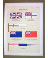 FLAGS England Union Blue Ensign White Pennant - 1899 Color Litho Print - $16.20