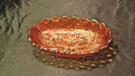 Vintage orange oval Carnival Glass with flower and diamond pattern AA19-CD0018 image 3