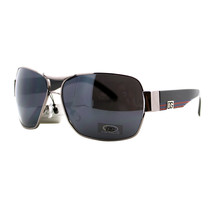 DG SQUARED NAVIGATOR Fashion Aviator Sunglasses SILVER BLACK w/ RED/BLUE - $7.87