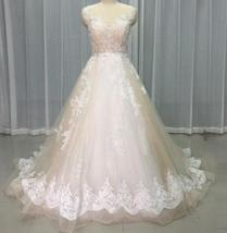 Court Train A-Line Applique Beaded Sheer Lace Tulle Wedding Gown image 3