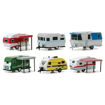New Hitched Homes Series 6, 6 piece Travel Trailers Set 1/64 Diecast Mod... - $59.14
