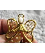Vintage Small Gold Tone Angel Pin With Rhinestones & Mother Of Pearl Face - $7.95