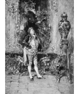 CHINA VASE on Display Baroque Interior - 1876 ETCHING Print after Fortuny - $35.96