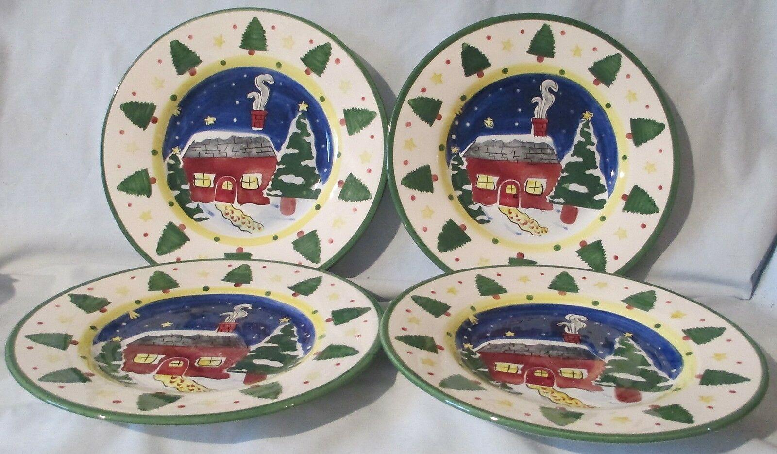 Insprado IDC Christmas Cabin Salad Plate set of 4