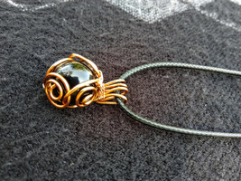Black Marble Pendant with Copper Wire Swirl Cage - $14.95