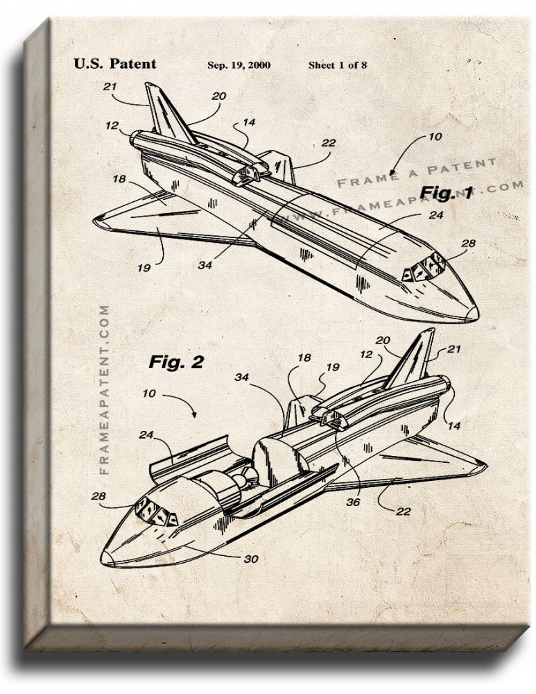 Primary image for Rocket Propelled Space Shuttle Patent Print Old Look on Canvas