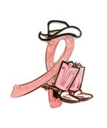 Breast Cancer Awareness Lapel Pins Cowboy Western Boots Hat Pink Ribbon ... - $58.16