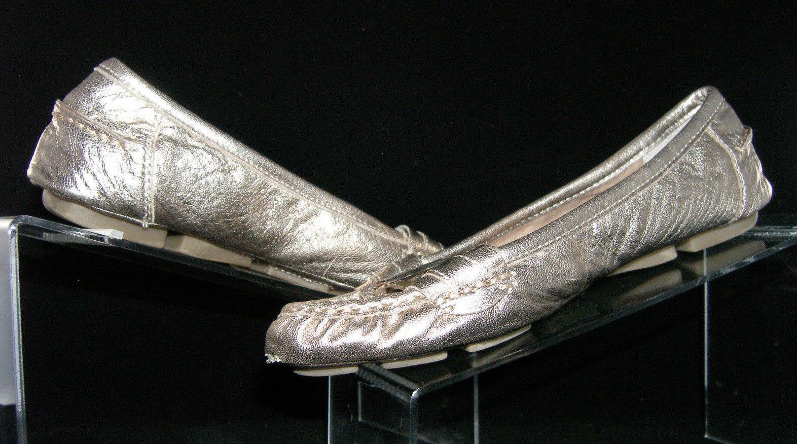 Giani Bernini 'Crispa' gold leather slip on loafer ballet flats womens heel shoe