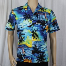 Royal Creations Blue Sailing Hawaiian Aloha Small Shirt Welt Pocket 100%... - $19.99