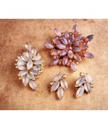 Vintage moonglow brooch set / juliana earrings - costume jewelry - faux ... - $95.00