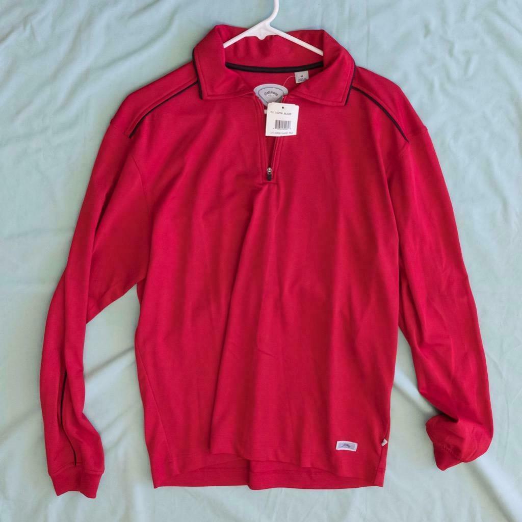 Hombre Callaway Golf Blaze Rojo Solapa Polo 1/4 Cremallera Camisa M Nwt Dq - $59.46
