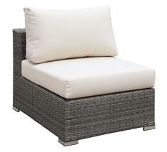 Richborne Grey Wicker Armless Chair in Cream Cushion - Outdoor Patio - $442.19