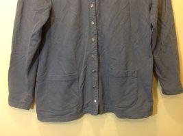 L.L. Bean Deep Periwinkle Blue Button Down Long Sleeve Sweater w Pockets Sz M image 3