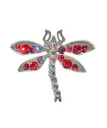 """1.5"""" x 1.5"""" Dragonfly/Red Crystal Lapel Pin - $17.99"""