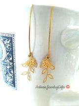Tiny Bird Branch Earrings Matte Gold Bird Earrings Gold Branch Earrings ... - $38.00
