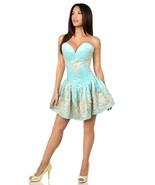 Elegant Strapless Aqua Floral and Satin Short Formal Corset Back Dress - $299.00
