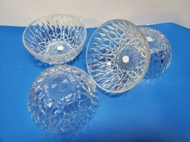 Set of 4 Vintage Indonesia Crystal Clear glass berry bowls ice cream, fruit - $52.46