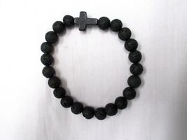 New Black Round Lava Beads & Black Howlite Cross Beaded Stretch Bracelet Unisex - $5.99