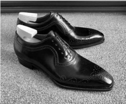 Men's Handmade Black Leather Dress Lace-up Shoes, Oxford Formal Leather Shoes - $159.99 - $179.99